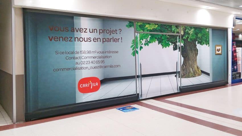 Habillage cellules commerciales vides CC Carrefour Saint-Serge (49)