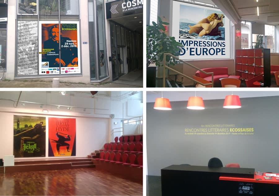 Agencement espace Cosmopolis de Nantes pour une manifestation Littéraire